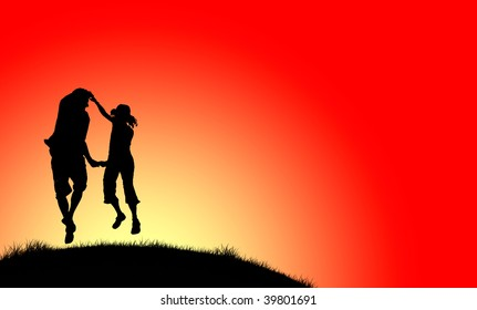 Couple dancing in sunset - illustration