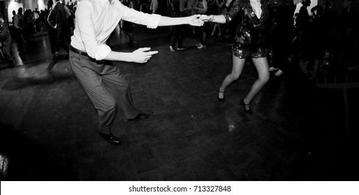 couple dancing at the swing music party