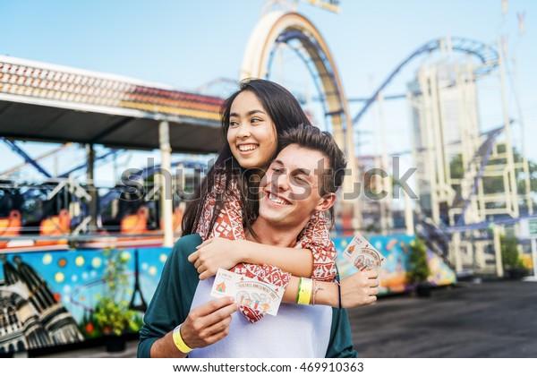 Couple Dating Fun Park Enjoyment Amusement Concept