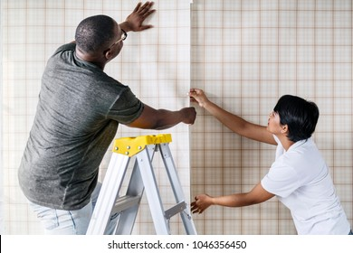 Couple decorating new house