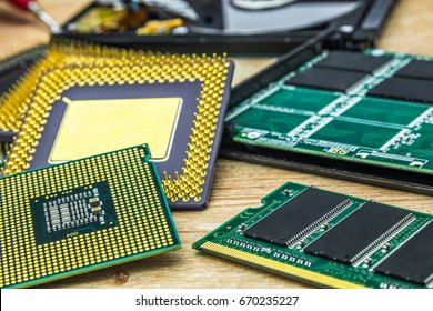 a couple of different processors also RAM memory module and SSD