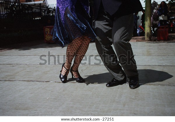 Couple doing the Tango  at a market in Buenos Aires