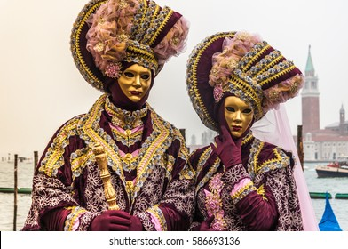 Couple Dressed In Traditional Carnival Costumes, Venice, Italy