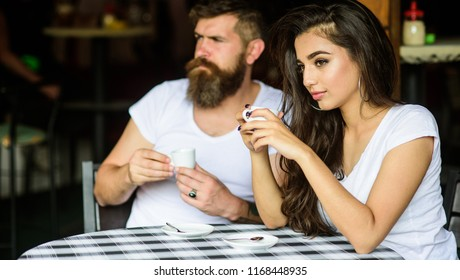 Couple drink black espresso coffee in cafe. Morning coffee tradition. Couple enjoy hot espresso. Having black cup of coffee when feel tensed or low can boost your mood instantly make things better.