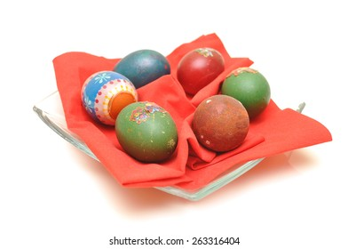 couple of a easter eggs on a napkin