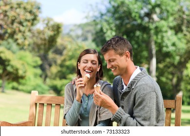 Couple eating an ice cream