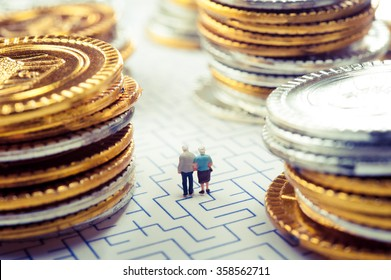 Couple of elderly walk through the maze, money problems