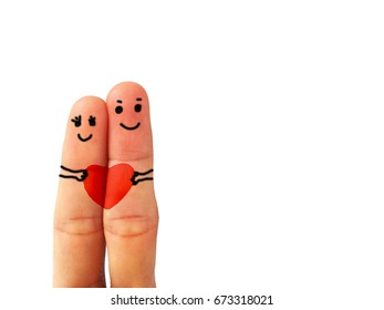 Couple embraces fingers happily on white background.
