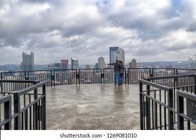 couple enjoy of view of Pittsburgh. Pennsylvania, USA.