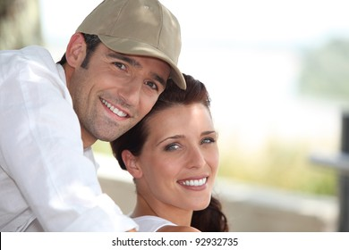 Couple enjoying a hot summer's day together