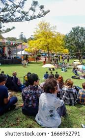 Couple enjoying Kiama blues & jazz festival 2020 at Hindmarsh park South Coast NSW  Australia 8 March 2020