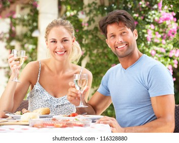 Couple Enjoying Meal outdoorss