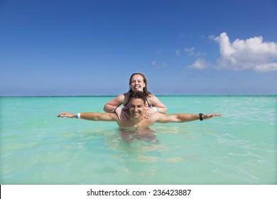 Couple enjoying summer vacation at Riviera Maya, Mexico