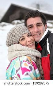 Couple enjoying their alpine getaway