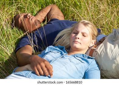Couple enjoying the warm summer sun