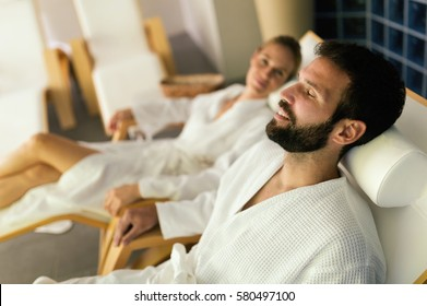 Couple enjoying wellness spa resort treatments