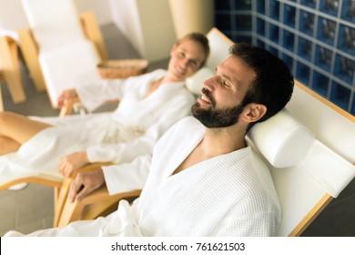 Couple enjoying wellness spa resort treatments