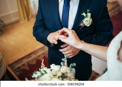 The couple exchange rings