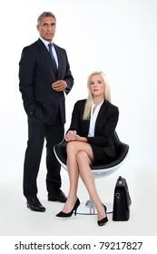couple of executive waiting