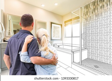 Couple Facing Bathroom Drawing Gradating To Photo.