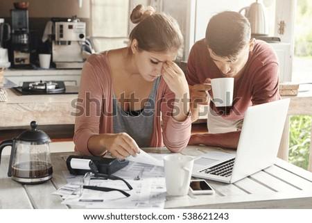 couple facing financial problem failing pay stock photo edit now