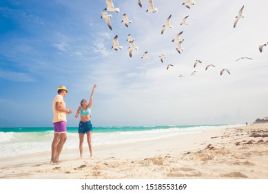 Couple feeding birds on the sea shore, gulls flying over two persons walking by the sea