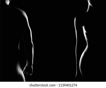 Couple. Female and Male Nude Silhouettes over Black background. Woman and Man. Naked Body Boy and Girl