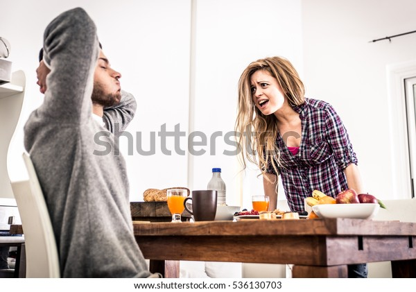Couple fight hard in the morning