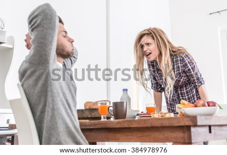 Couple fighting in the morning. woman screaming to her man. relationship problems