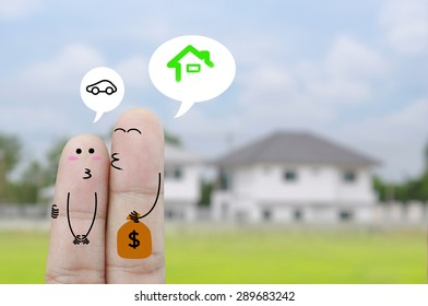 Couple Finger holding money , home concept