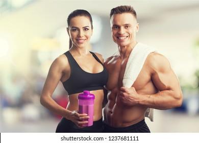 Couple fit adult athlete athletic background beautiful