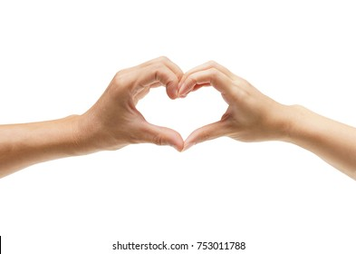A couple forming hands as a heart shape / Love and romance on Valentine's day concept