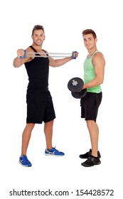 Couple of friends lifting weights isolated on a white background