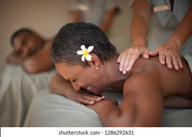 Couple getting massages
