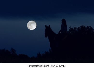 Couple: girl rider and horse are looking at the big full moon at night and dreaming. Fantasy scene.
