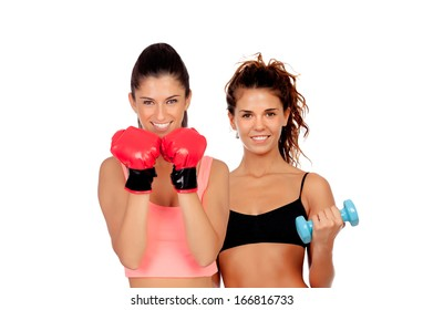 Couple of girls playing sports in gym isolated on white background