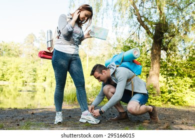 couple goes hiking, forest, recreation, love, active lifestyle - Shutterstock ID 295166015
