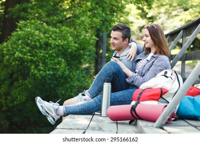 couple goes hiking, forest, recreation, love, active lifestyle - Shutterstock ID 295166162