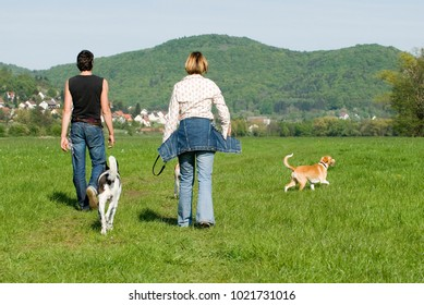 Couple goes for a walk with dogs