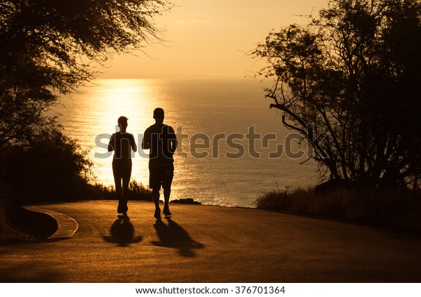 Couple going for early morning run