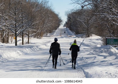 Couple going to ski at French Regional Park Minnesota