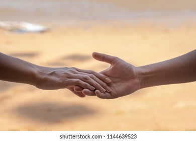 Couple hands closed together outdoors. Hand-in-hand. Couple love on background of nature