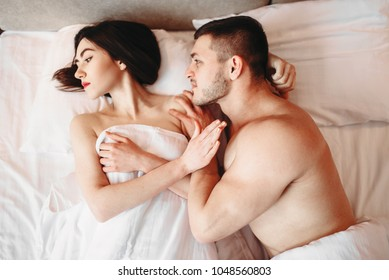 Couple have problems in bed, failure sex, quarrel