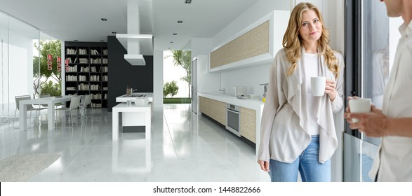 Couple having a coffee in a house with a modern open  plan kitchen the background is a 3D rendering