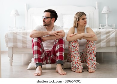 Couple having dispute and bedroom  problems in marriage