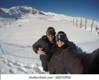 Couple Having Fun in Snow