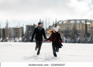 Couple having fun in Tatra mountains, Slovakia.