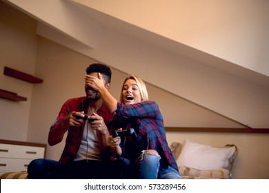 Couple having a good time at home.