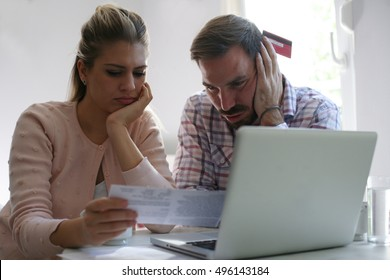 Couple having problem with bills and money.