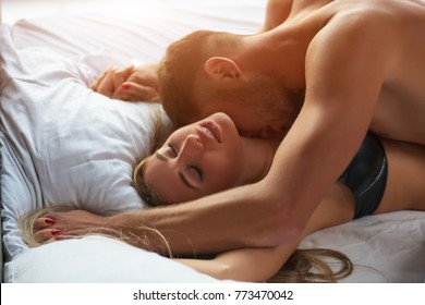 Couple having sex. Lovers in bed.